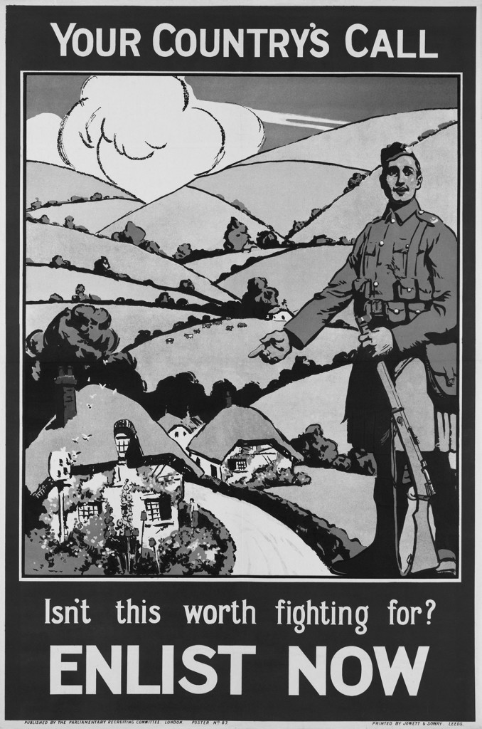 Your Country's Call. Isn't this worth fighting for? Enlist Now', 1915. Chromolithograph recruiting poster, published as Number 87 by the Parliamentary Recruiting Committee, printed by Jowett and Sowry, 1915. Propaganda posters played an important role in encouraging people to support the war. In 1914 Britain had a small professional army. As World War One (1914-1918) progressed more men were needed. By December 1915, over two million men had voluntarily joined up. Despite this, Britain was still forced to introduce the call up in January 1916, when the Military Service Bill provided for the conscription of single men aged 18 to 41. In May 1916 conscription was extended to married men as well.